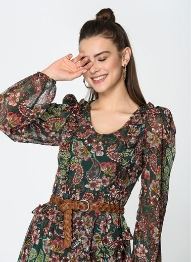 Loves You Şal Desen V Yaka Şifon Elbise Yeşil